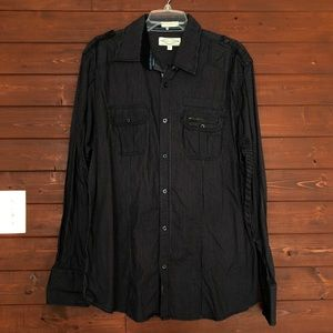 Eighty Eight Stripe Black Button Down
